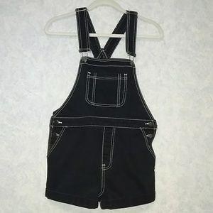 Forever 21 black cotton denim short overalls 27